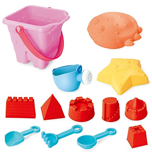 EXERCISE N PLAY Kids Sand Toys Set for Building on Beach or in Sandbox: Buckets, Tools, Molds, Toy Boat-13 Pieces