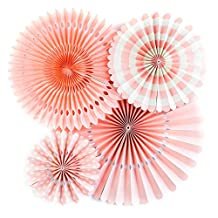 LianLe Wedding Decorations Sets of 4 DIY Round Flower Paper Fans Coral Color Party Supplies, pink