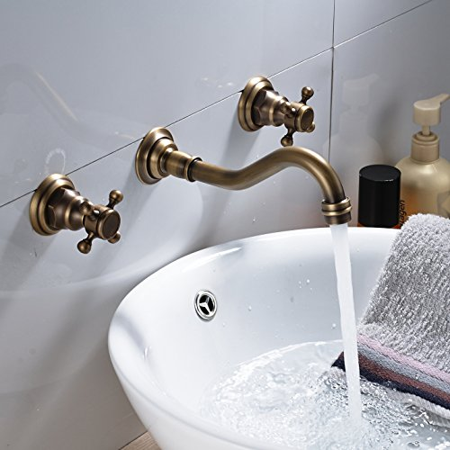 Rozin Bathroom 2 Knobs Widespread Basin Faucet Wall Mounted 3 Holes Vanity Sink Mixer Tap Antique Brass