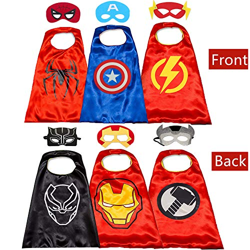 Kids Costumes Capes and Masks for Kids - Superhero Double Side Cape Best Superhero Toys and Kids Gifts Red]()
