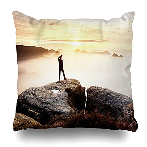 Ahawoso Throw Pillow Covers Sandstone Green Boy Stay On Sharp Rock Miracle Nature Bush Clouds Dark Deep Effect Design Home Decor Zippered Pillowcase Square Size 16 x 16 Inches Cushion - Boys Sandstone Jacket