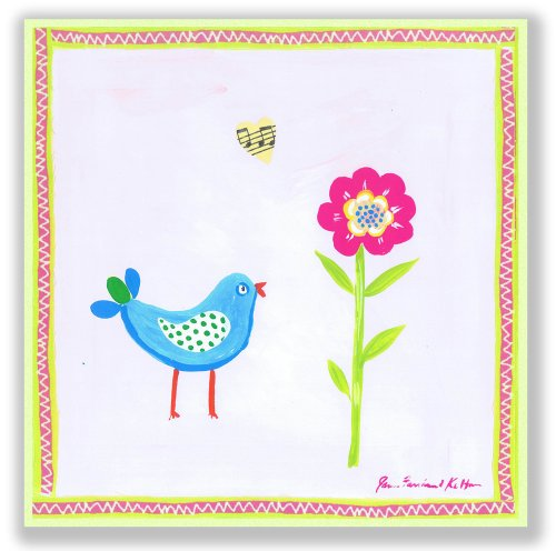The Kids Room by Stupell Blue Bird and Pink Flower Square Wall Plaque by The Kids Room by Stupell