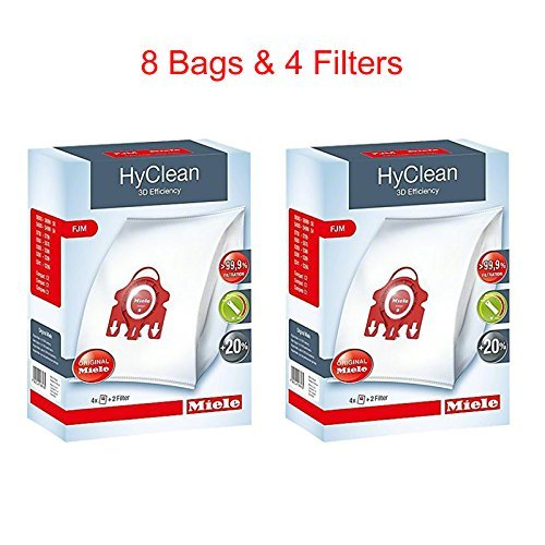 Miele HyClean 3D Efficiency Dust, Type FJM, 8 Bags & 4 Filters, Red -