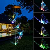 Elfeland Solar Wind Chime Light Multicolored LED Bulb Translucent Butterfly Shape USB & Solar Charged IP44 Waterproof for Home Party Night Garden Decoration Review
