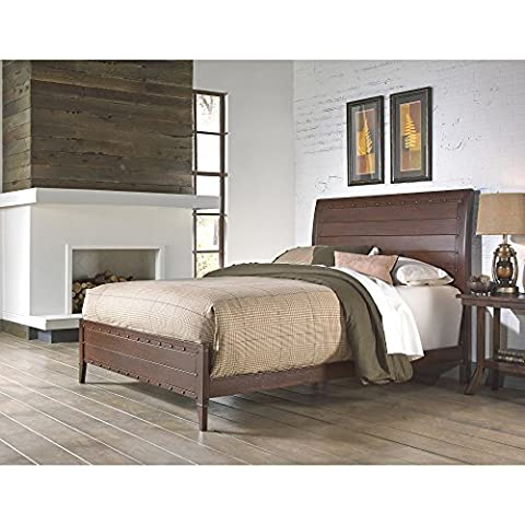Rockland Platform Bed with Metal Sleigh Headboard and Wood Appearance Design, Brandy Finish, Queen - Footboard Hillsdale House