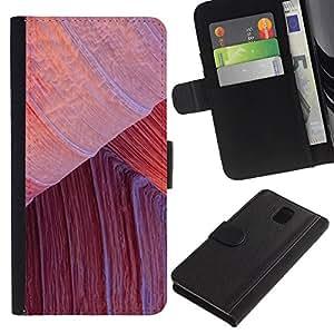 UberTech / Samsung Galaxy Note 3 III N9000 N9002 N9005 / Nature Climbing Red Desert Lines / Cuero PU Delgado caso Billetera cubierta Shell Armor Funda Case Cover Wallet Credit Card