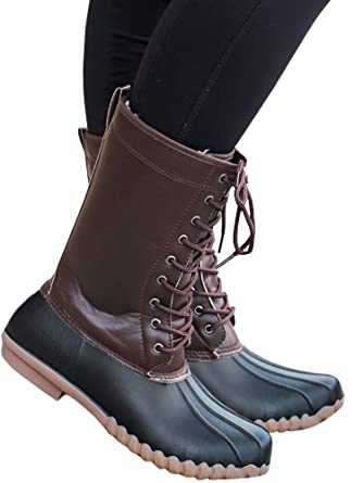 34d732b33c216 Womens Duck Rain Boots Winter Ankle Snow Waterproof Lace Up Mid Calf Combat  Boots