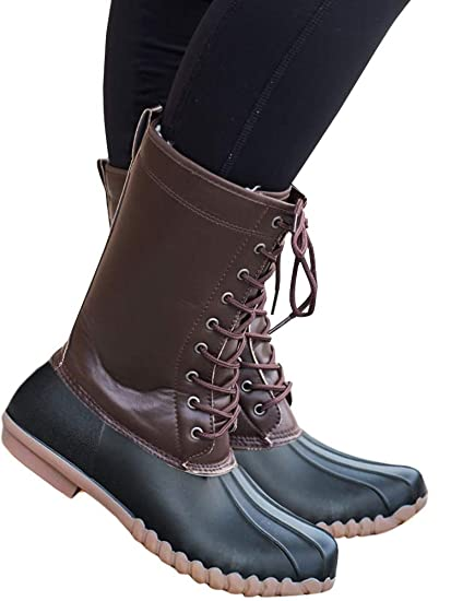 22d8e8ac619 Womens Lace up Duck Boots Waterproof Low Heel Wide Calf Winter Warm Snow  Rain Shoes