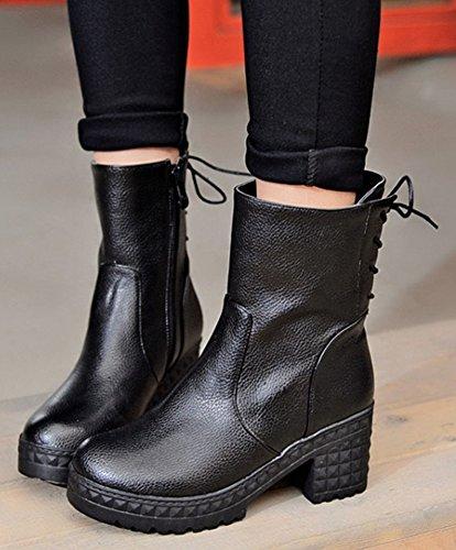 Aisun Kvinna Mode Chunky Mitten Klack Boots Svart