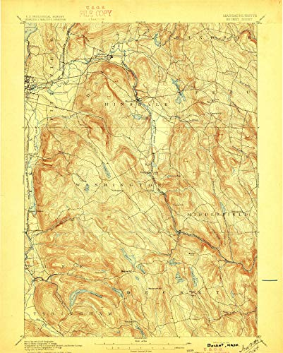 (YellowMaps Becket MA topo map, 1:62500 Scale, 15 X 15 Minute, Historical, 1897, 19.7 x 15.8 in - Paper)