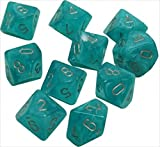 Chessex Dice Sets: Cirrus Aqua with Silver - Ten Sided Die d10 Set (10)