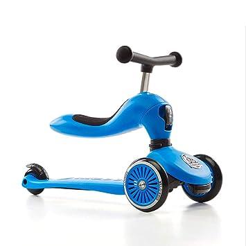 2 in1 Kinderroller LED Räder Scooter Cityroller 3-Rad verstellbare Höhe mit Sitz