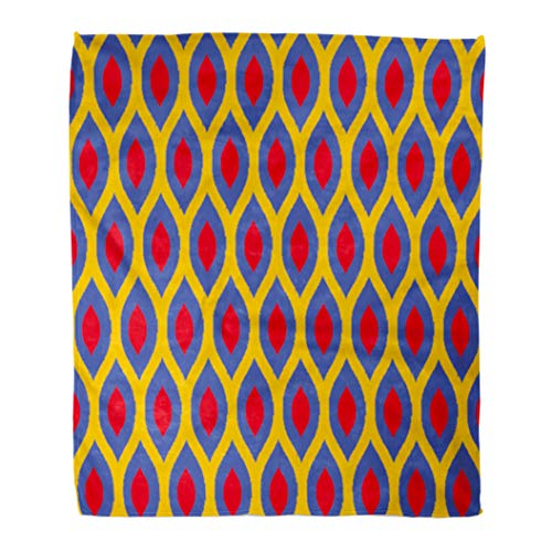 Emvency Decorative Throw Blanket 50 x 60 Inches Colorful Abstract Bauhaus Blue Red and Yellow Enhanced Ikat Ogee Pattern Color Warm Flannel Soft Blanket for Couch Sofa ()