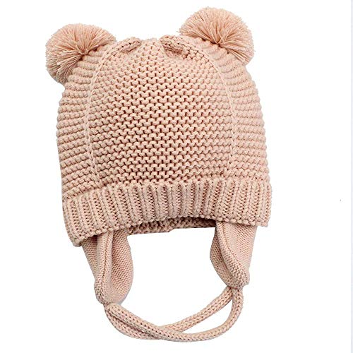 Knitting Hat Earflap Pattern - Hisharry Baby Beanie Warm Hat-Infant Boys Hat Cute Bear Knit Toddler Girls Earflap Soft Warm Fall Winter Pink(12-24M)