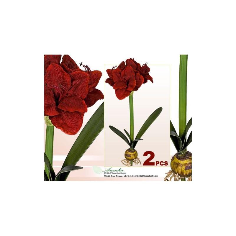 "silk flower arrangements arcadia silk plantation two artificial 24"" amaryllis bendable flowers for christmas decoration"