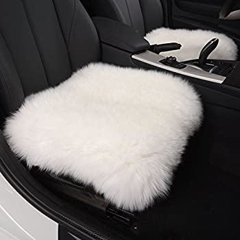 Incroyable HAOCOO 18 Inch Luxurious Faux Sheepskin Long Wool Car Seat Covers Chair Pad  (White) (One Seat Cover)