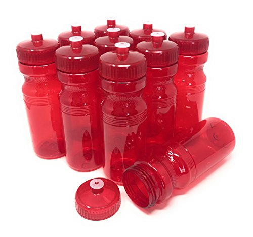 Water Red Usa - CSBD Blank 24 oz Sports and Fitness Water Bottles, BPA Free, PET Plastic, Made in USA, Bulk (Red, 10 Pack)
