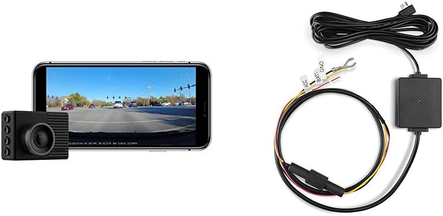 """Garmin Dash Cam 46, Wide 140-Degree Field of View in 1080P HD, Very Compact with Automatic Incident Detection and Recording & 010-12530-03 Parking Mode Cable, 6.60"""" x 2.70"""" x 2.00"""", Black"""