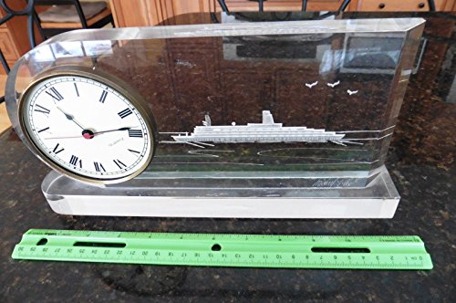 Etched Lucite Ship mantle Clock Signed Michael J Cox Vintage cruise boat ? ship