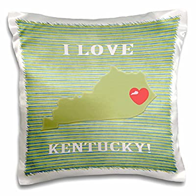 3dRose I Love Kentucky with A Heart on The State, Green, Red, Stripes - Pillow Case, 16 by 16-Inch (pc_218314_1)