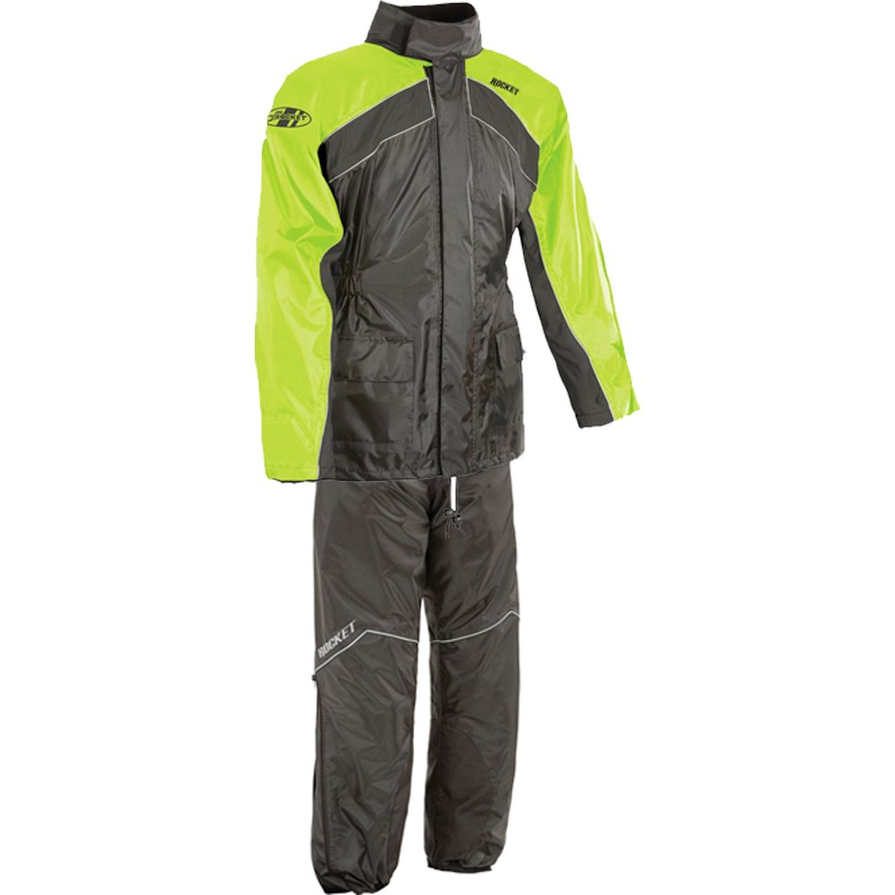 Joe Rocket RS-2 Men's 2-Piece Street Racing Motorcycle Rain Suits - Hi-Viz/Neon / Large
