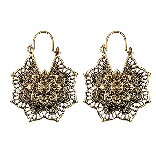 POQOQ Dangle Mandala Earrings Boho Antique silver Gypsy Hoop Indian Tribal Ethnic Gold ()