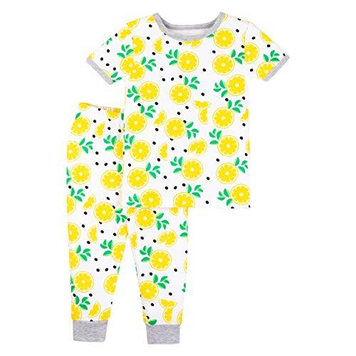 LAMAZE Organic Baby Girls' Toddler 2 Piece Sleepwear, Yellow Lemons, 18M