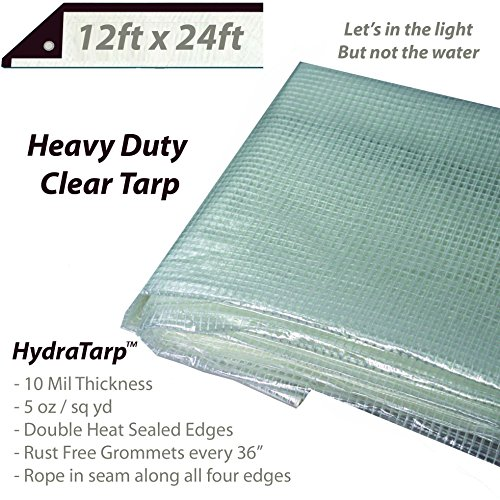 Heavy Duty Clear Greenhouse Tarp - 12ft x 24ft - Premium Quality 10 mil with 3x3 Mesh Weave for Added Strength - UV Coated Protection for Outdoor Camping RV Truck and Trailers