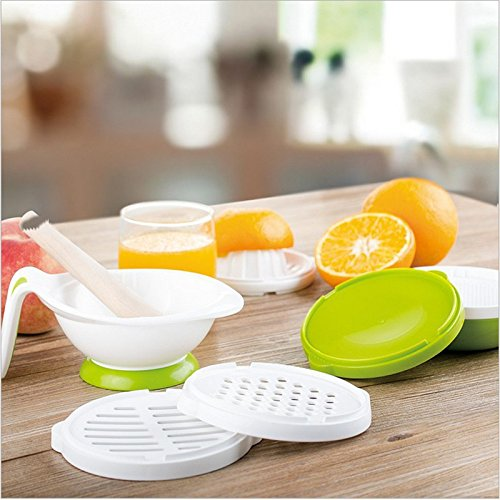 8Pcs Multifunctional Baby Food Grinding Set Vegetable Juice Making Bowl Fliter Kit Colorful Kid Food Mills Supplement ()