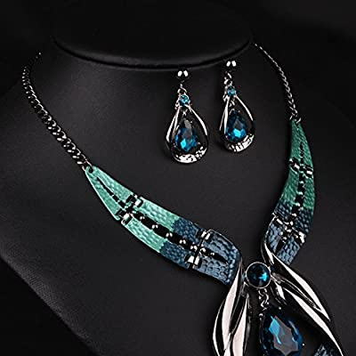 Diamondo Crystal Choker Chunky Statement Pendant Bib Necklace Earring Jewelry Set
