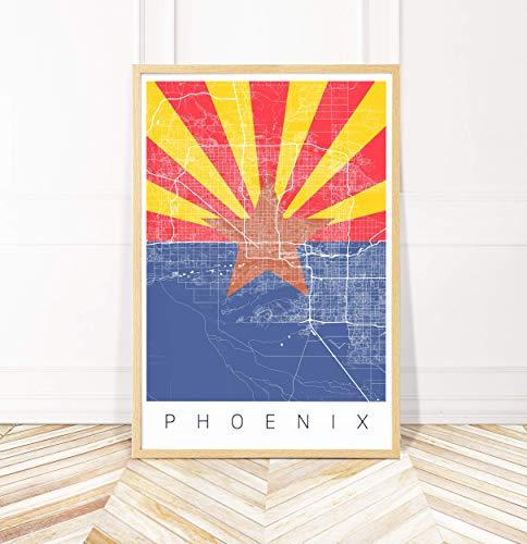 Phoenix Map Art Print - Arizona Flag Print