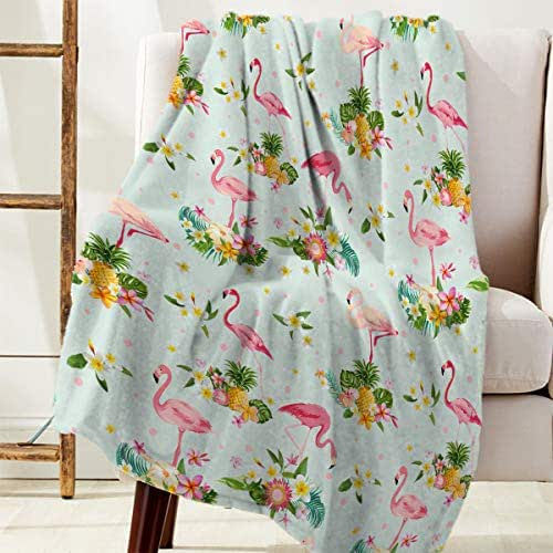 LALADecor Throw Blanket Ultra Soft Flannel Reversible Warm Blanket for Couch Sofa,Flamingos and Pineapples Pattern Fleece Cozy Bed Blanket 40