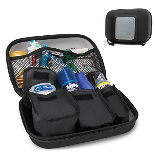 USA Gear Toiletry Travel Bag Organizer Kit with Customizable Storage Pockets & Protective Hard Shell Perfect for Carrying Shampoo, Conditioner, Body Wash, Shaving Supplies & More Toiletries!