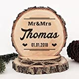 KISKISTONITE Wooden Wedding Cake Toppers Rustic, Personalized Falling in Love Design, Engraved Mr and Mrs Country Style Cake Decoration Favors Party Decorating Supplies