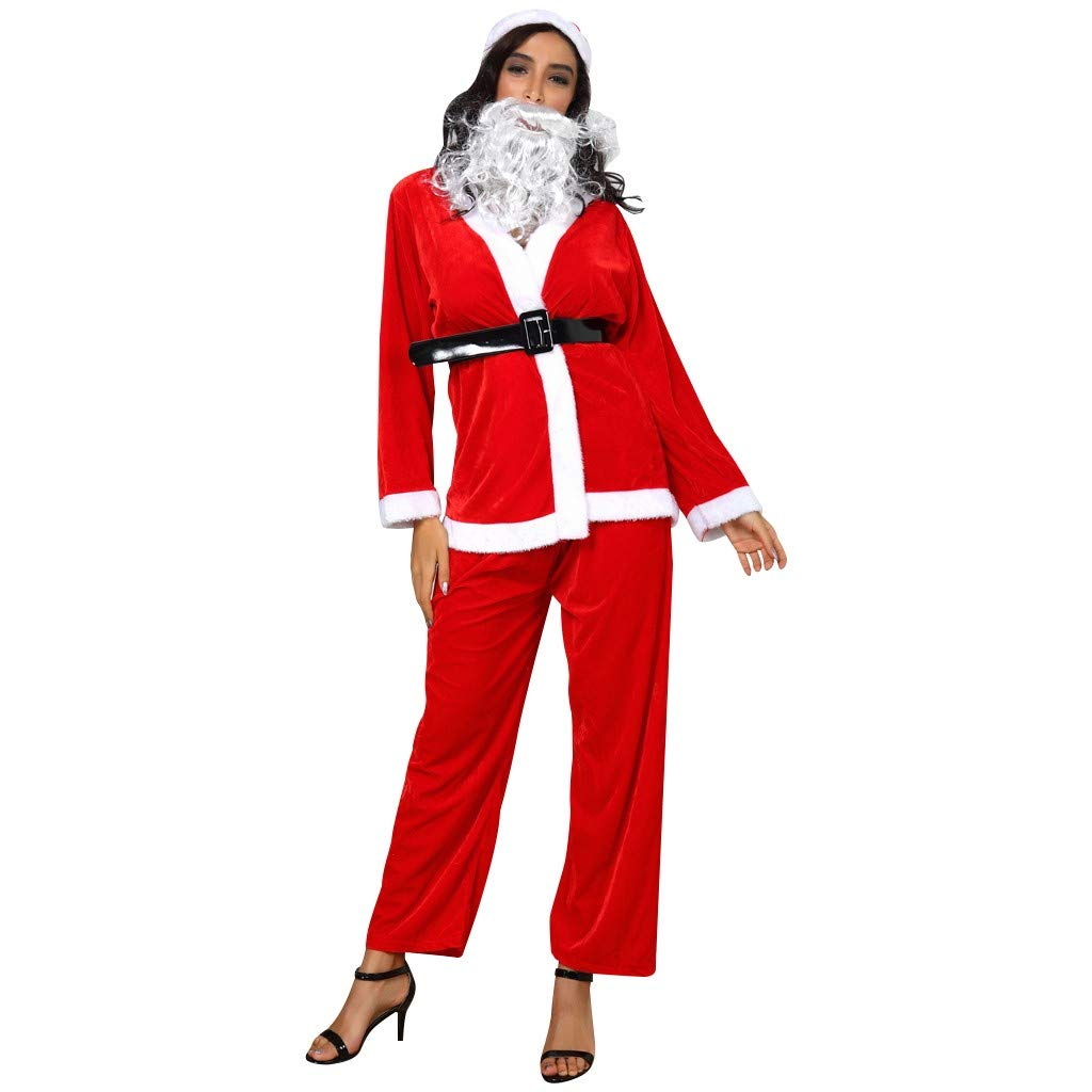 Women Lace Silk Stain Nightie Festival Long Sleeve Tops with Belt Trousers Hat Beard Red Christmas Set by Bollysky