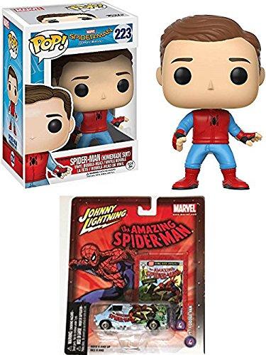Spider Car & Figure Pack Die-Cast Amazing Spider-Man Marvel Dodge Van Johnny Lightning + Vinyl Pop Homecoming Exclusive Peter Parker Homeade Suite -