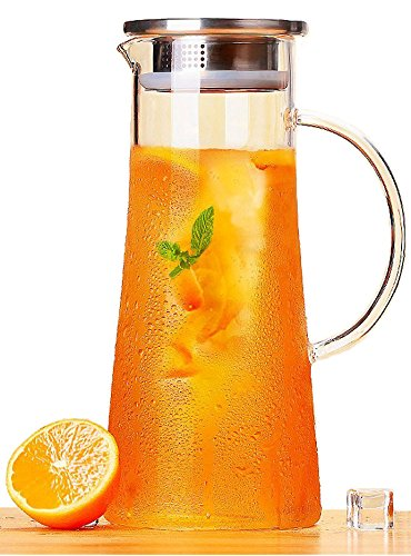 Artcome-15-Liter-52-Oz-Hand-Made-Glass-Water-Pitcher-with-Stainless-Steel-Strainer-Lid