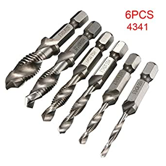 Rustproof Handle Metric Compound Hand Screw Spiral Tap Taper Drill Bit Set 1PCSSteel Color