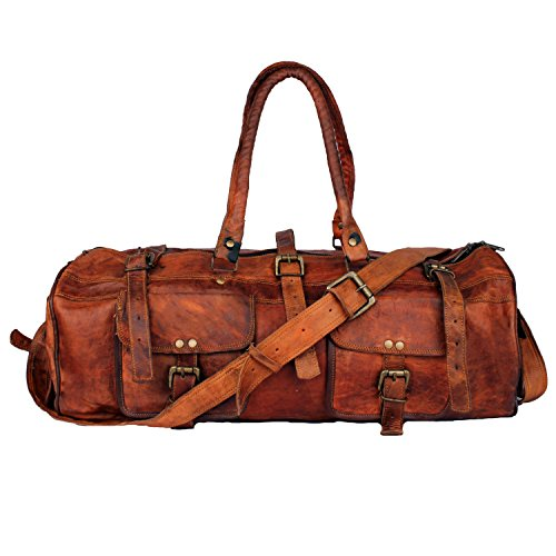 Genuine Leather Travel Duffel Bag Vintage Handmade Duffle for Travelling Business Trip (Style 5) (Leather Retro Tote)