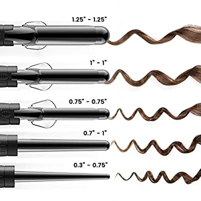 Xtava 5 in 1 Professional Curling Iron and Wand Set - 0.3 to 1.25 Inch Interchangeable Ceramic Barrel Wand Curling Iron - Dual Voltage Hair Curler Set for All Hair Types with Glove and Travel Case