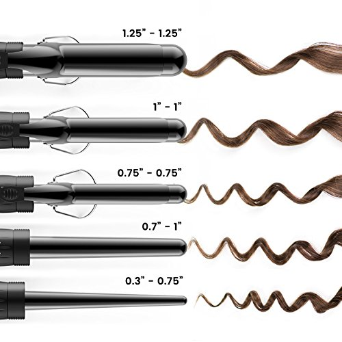 xtava 5 in 1 Professional Curling Wand and Curling Iron Set - 0.3 to 1.25 Inch Interchangeable Ceramic Barrel Wand Curling Iron - Dual Voltage Hair Curler for All Hair Types with Glove and Travel Case by xtava (Image #2)