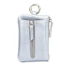 Anshili Unisex Leather Key Case Coin Purse Card Case Key Wallet (Silver)