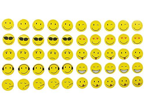 Magnete Smiley, Emoji, 50 Stück im Set, 10 verschiedene Designs, Kühlschrankmagnete, witzige gute Laune Magnete, Durchmesser 2 cm