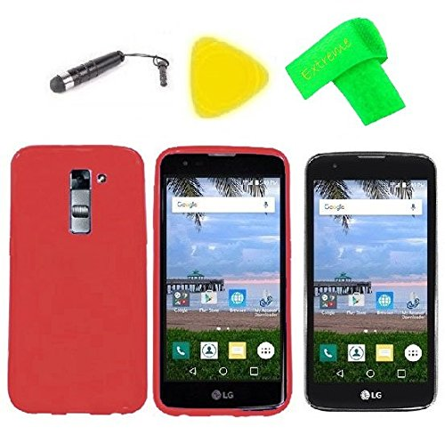 TPU Flexible Skin Cover Case Cell Phone Accessory + Screen Protector + Extreme Band + Stylus Pen + Pry Tool For LG Treasure L51AL L52VL / LG Escape 3 K373 / Phoenix 2 K371 (TPU Red) ()