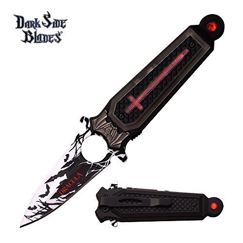 (New FOLDING POCKET ProTactical Limited Edition Elite SPRING ASSISTED knife Dark Side Blades Dracula Light Up Cross Coffin Vampire)