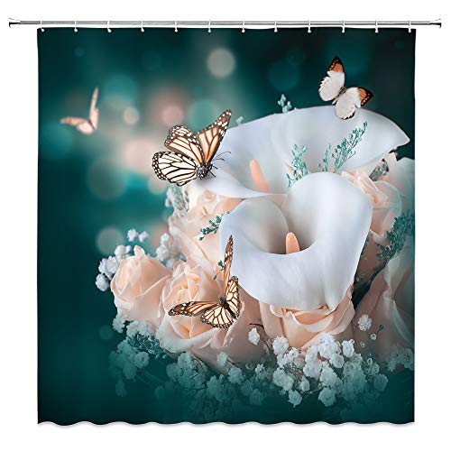 AMNYSF Flower Butterfly Shower Curtain White Calla Lily Pink Rose Spring Flowers Bouquet Decor Fabric Bathroom Curtains,Waterproof Polyester with Hooks 70x70 Inch