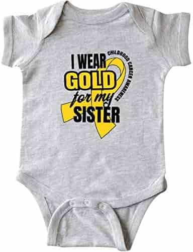 0738cde3af inktastic - I Wear Gold for My Sister Childhood Cancer Awareness Infant  Creeper