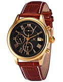 Ks Imperial Men's Gold Case 6 Hands Date Day Month Automatic Mechanical Brown Leather Watch KS149