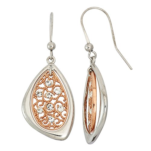 (14K Gold, Rose Gold, or Rhodium Plated Silver Filigree Crystal Dangle Earrings)