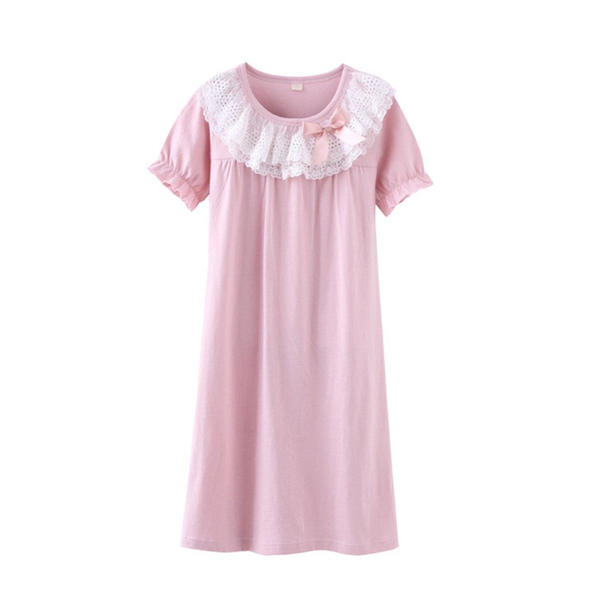leader Jin Girls Kids Princess Lace Bowknot Nightgown Long Sleeve Cotton Sleepwear Dress Pretty Homewear Dress